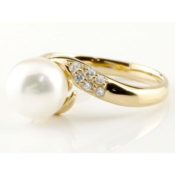 パールリング 真珠 フォーマル  サファイア イエローゴールドk18 リング キュービックジルコニア ピンキーリング キュービック 指輪 18金 宝石