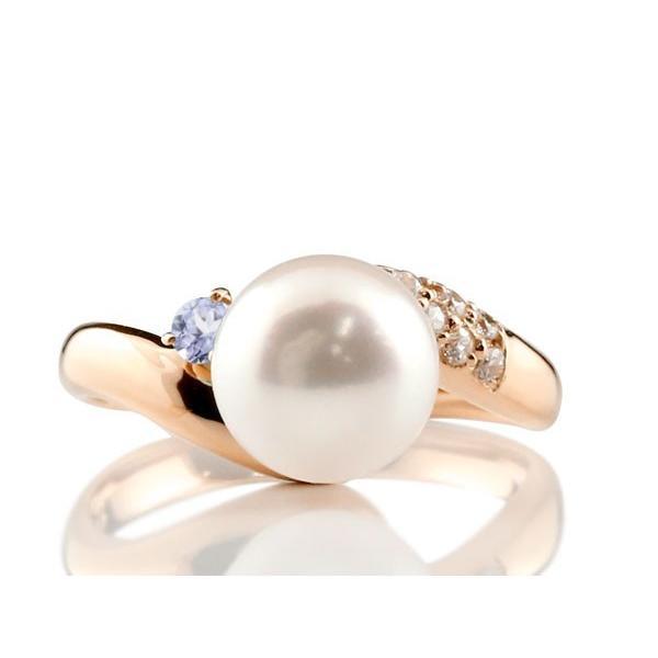 パールリング 真珠 フォーマル  タンザナイト ピンクゴールドk18 リング ダイヤモンド ピンキーリング ダイヤ 指輪 18金 宝石  クリスマス 女性