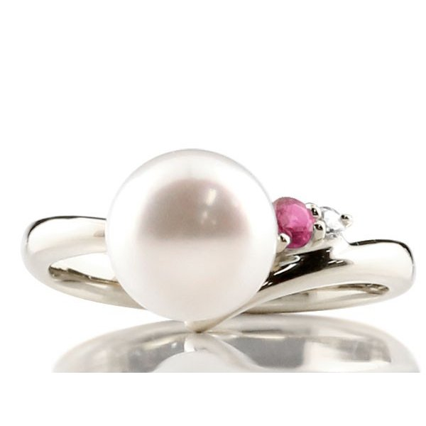 婚約指輪 安い パールリング 真珠 フォーマル エンゲージリング 婚約指輪  ルビー プラチナ900 リング ダイヤモンド ダイヤ 指輪 宝石