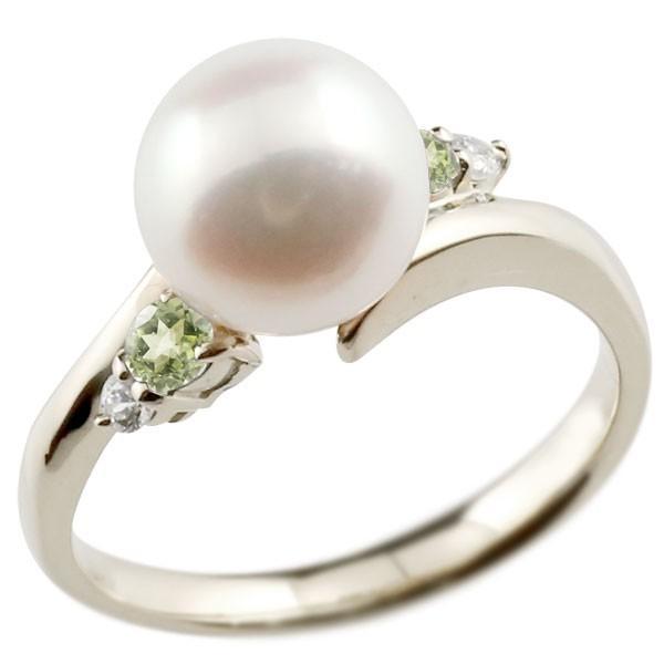 パールリング 真珠 フォーマル  ペリドット プラチナ900 リング ダイヤモンド ピンキーリング ダイヤ 指輪 スパイラル 宝石  クリスマス 女性
