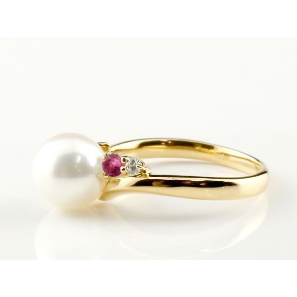 パールリング 真珠 フォーマル エンゲージリング 婚約指輪 18金  ルビー イエローゴールドk18 リング ダイヤモンド ダイヤ 指輪 18金 スパイラル 宝石 Xmas