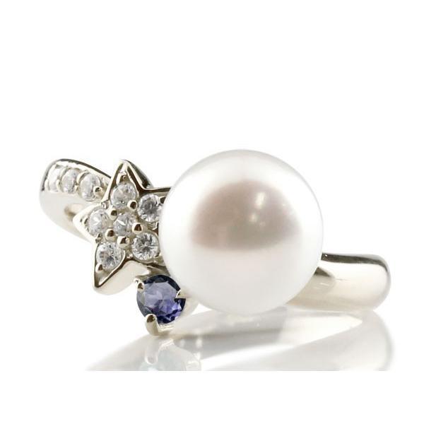 パールリング 真珠 フォーマル  星 スター アイオライト ホワイトゴールドk18 リング ダイヤモンド ピンキーリング ダイヤ 指輪 18金 スパイラル