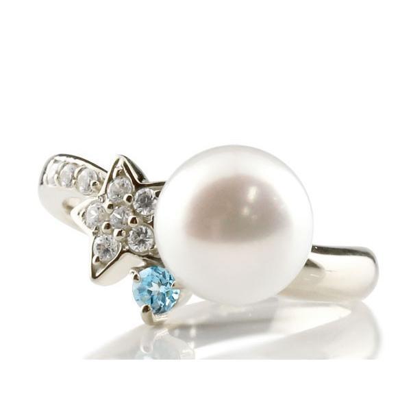 パールリング 真珠 フォーマル エンゲージリング 婚約指輪 18金  星 スター ブルートパーズ ホワイトゴールドk18 リング ダイヤモンド 指輪 18金 スパイラル