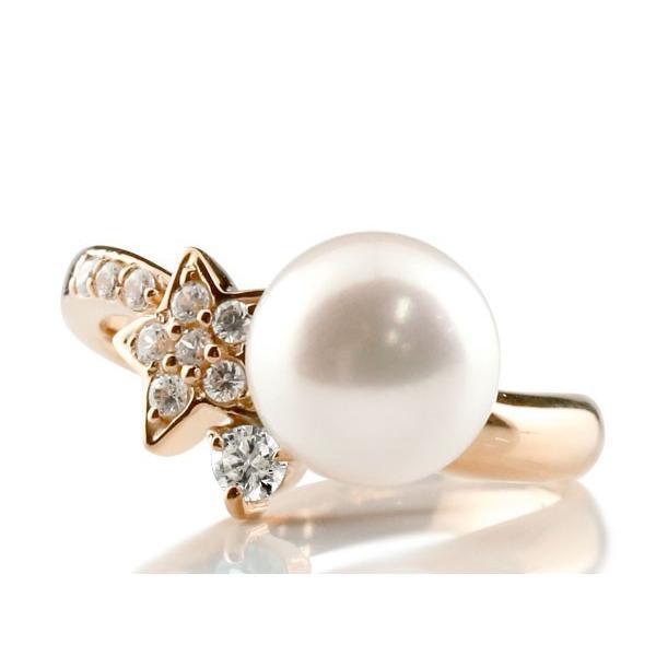 パールリング 真珠 フォーマル エンゲージリング 婚約指輪 18金  星 スター  キュービックジルコニア ピンクゴールドk18 リング  キュービック 指輪 スパイラル
