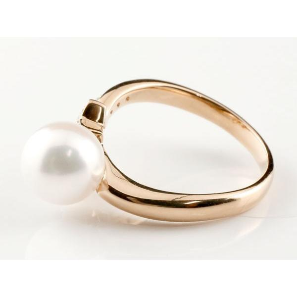 パールリング 真珠 フォーマル  星 スター エメラルド ピンクゴールドk18 リング ダイヤモンド ピンキーリング ダイヤ 指輪 18金 スパイラル