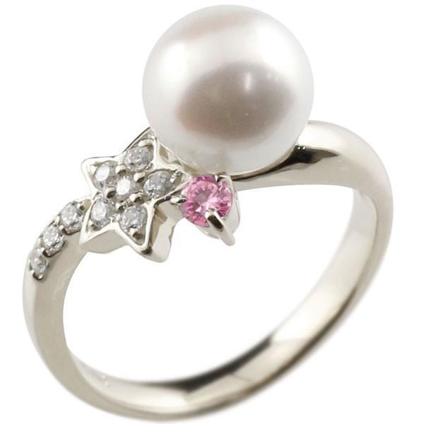 パールリング 真珠 フォーマル  星 スター ピンクサファイア プラチナ900 リング ダイヤモンド ピンキーリング ダイヤ 指輪 スパイラル