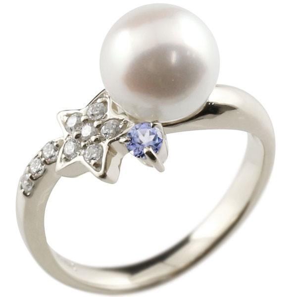 婚約指輪 安い パールリング 真珠 フォーマル エンゲージリング  星 スター タンザナイト プラチナ900 リング ダイヤモンド ダイヤ 指輪 スパイラル Xmas