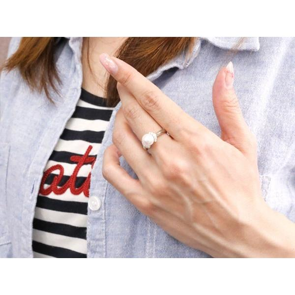 パールリング 真珠 フォーマル エンゲージリング ダイヤモンド 婚約指輪 ダイヤ ホワイトゴールドk18 リング 指輪 18金 ストレート 夏 クリスマス 女性