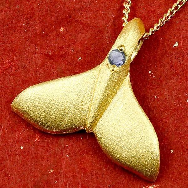 24金 ネックレス トップ メンズ ハワイアンジュエリー 純金 ホエールテール クジラ 鯨 アイオライト ゴールド ペンダント 天然石 k24 人気 宝石