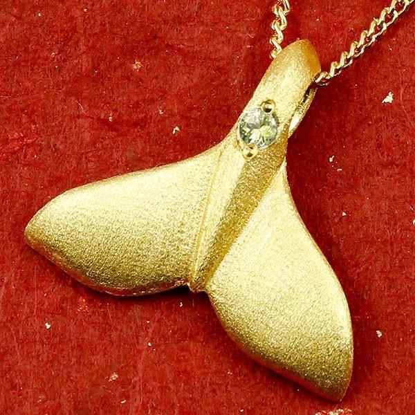 24金ネックレス ハワイアンジュエリー 純金 メンズ ホエールテール クジラ 鯨 ペリドット トップ ゴールド 天然石 8月誕生石 k24 人気 宝石 緑の宝石