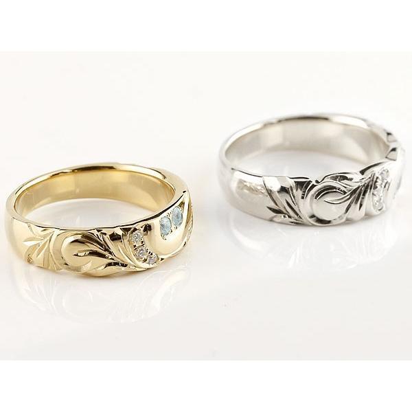 マリッジリング 結婚指輪 ペアリング ハワイアンジュエリー アクアマリン ダイヤモンド プラチナ イエローゴールドk18 幅広 指輪 マリッジリング ハート 18金