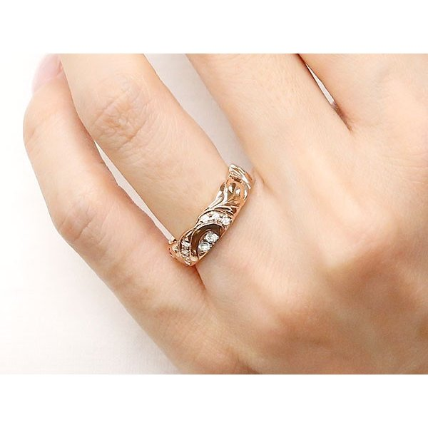 結婚指輪 安い 結婚指輪 ペアリング ハワイアンジュエリー ダイヤモンド プラチナ ピンクゴールドk18 幅広 指輪 マリッジリング ハート カップル 18金  女性