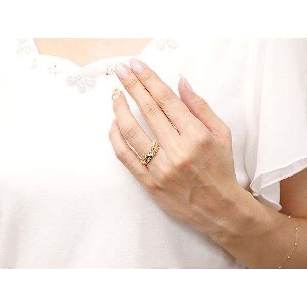 ハワイアンジュエリー 結婚指輪 ペアリング ペリドット ダイヤモンド イエローゴールドk10 ホワイトゴールドk10 幅広 指輪 マリッジリング ハート 10金 送料無料