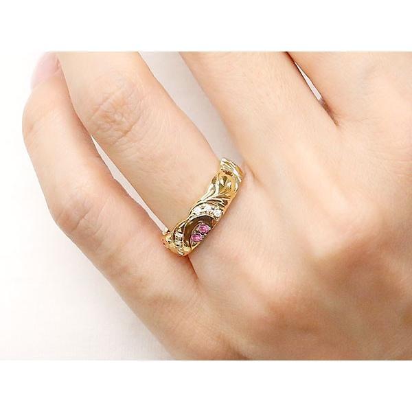 結婚指輪 ペアリング ハワイアンジュエリー ルビー ダイヤモンド イエローゴールドk10 幅広 指輪 マリッジリング ハート ストレート カップル 10金  女性 母の日