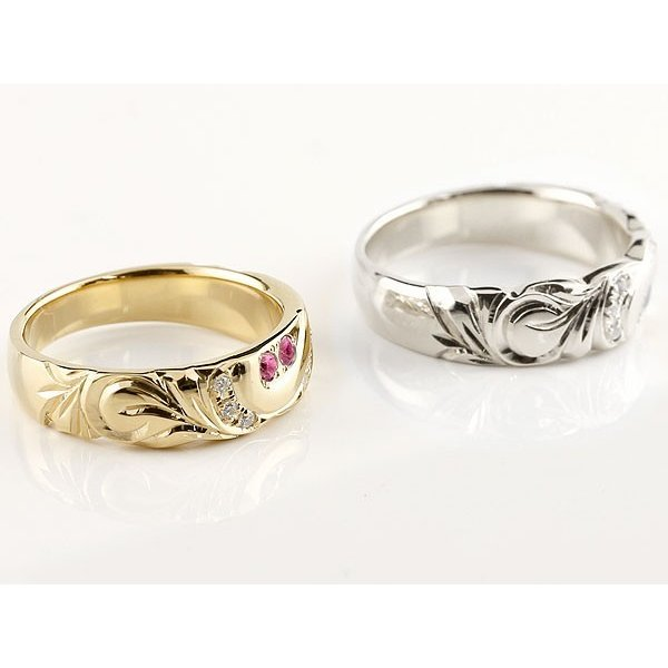 結婚指輪 ペアリング ハワイアンジュエリー ルビー ダイヤモンド イエローゴールドk10 ホワイトゴールドk10 幅広 指輪 マリッジリング ハート 10金  女性 母の日