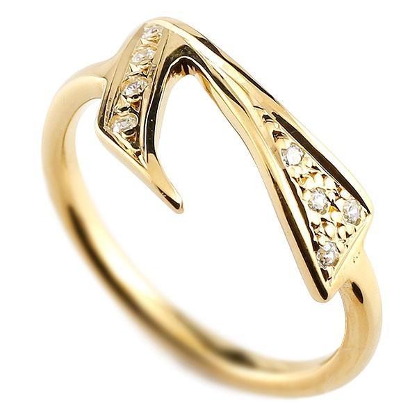メンズ ピンキーリング ダイヤモンド ナンバー7  イエローゴールドk10 10金 リング 指輪 数字 ストレート 男性 送料無料