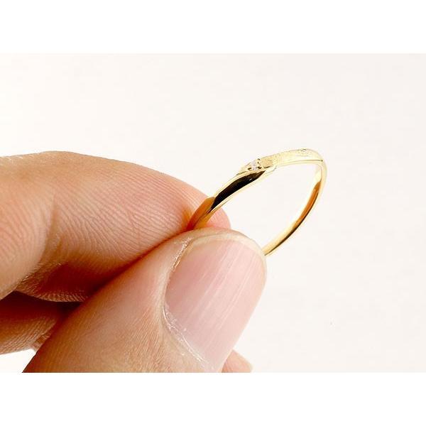 スイートペアリィー インフィニティ ペアリング 結婚指輪 マリッジリング ダイヤモンド イエローゴールドk18 ホワイトゴールドk18 S字 つや消し 一粒 18金 華奢