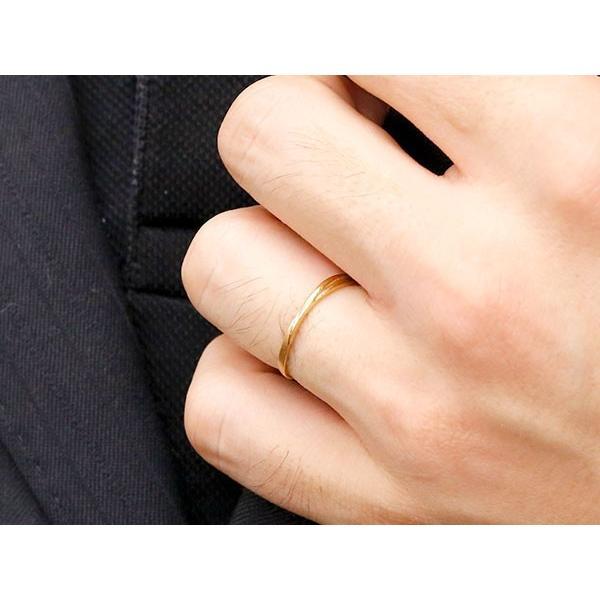 結婚指輪 ペアリング マリッジリング ダイヤモンド イエローゴールドk18 S字 つや消し 一粒 18金 華奢 最短納期 クリスマス 女性