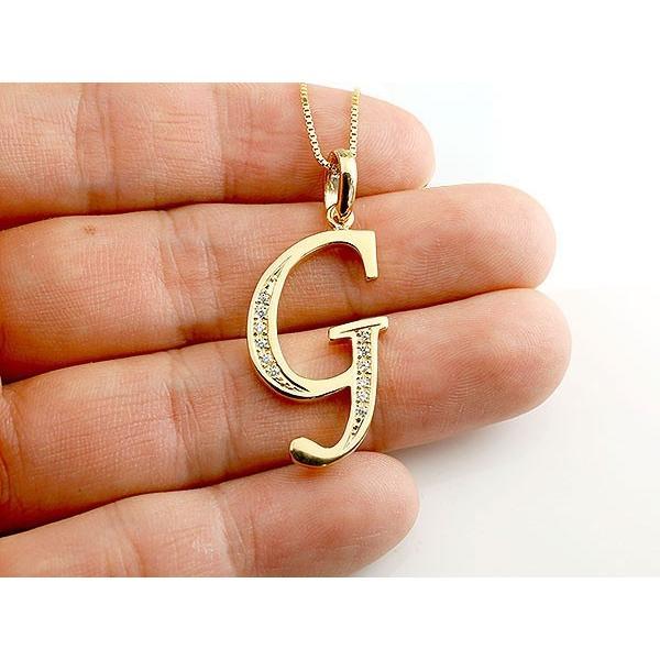 イニシャル ネーム ネックレス G ダイヤモンド イエローゴールドk10 ペンダント アルファベット レディース チェーン 人気 10金 ダイヤ クリスマス 女性