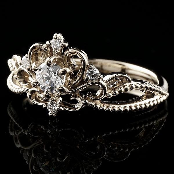 鑑定書付き エンゲージリング SIクラス ホワイトゴールドk18 ダイヤモンド ティアラ ミル打ち 指輪 一粒 大粒 ダイヤ ダイヤモンドリング k18 18金 送料無料