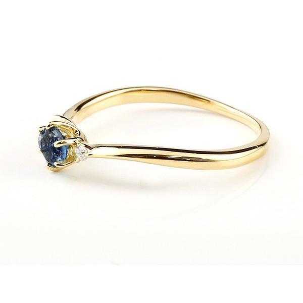 エンゲージリング イニシャル ネーム A 婚約指輪 ブルーサファイア ダイヤモンド イエローゴールドk10 指輪 アルファベット 10金 レディース 9月誕生石