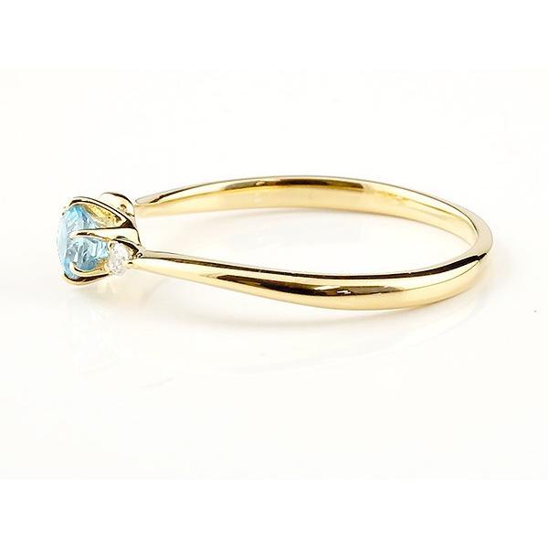 エンゲージリング イニシャル ネーム C 婚約指輪 ブルートパーズ ダイヤモンド イエローゴールドk18 指輪 アルファベット 18金 レディース 11月誕生石