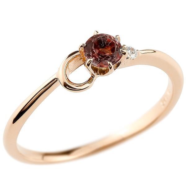 エンゲージリング イニシャル ネーム C 婚約指輪 ガーネット ダイヤモンド ピンクゴールドk10 指輪 アルファベット 10金 レディース 1月誕生石 人気
