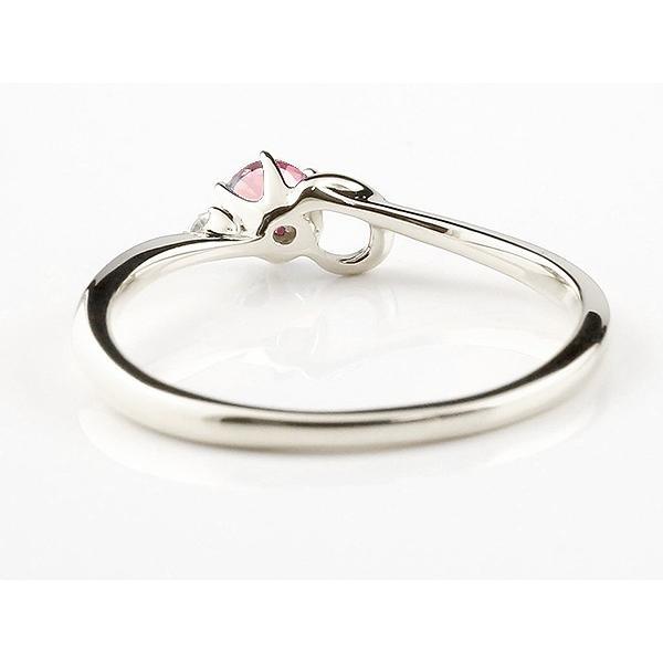 ピンキーリング イニシャル ネーム C ピンクトルマリン ダイヤモンド 華奢リング シルバー 指輪 アルファベット レディース 10月誕生石 人気 クリスマス 女性