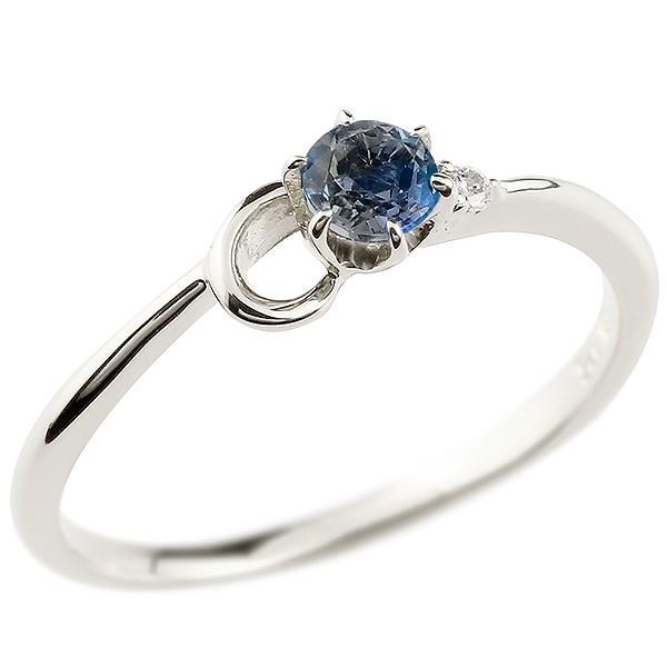 エンゲージリング イニシャル ネーム C 婚約指輪 ブルーサファイア ダイヤモンド ホワイトゴールドk10 指輪 アルファベット 10金 レディース 9月誕生石