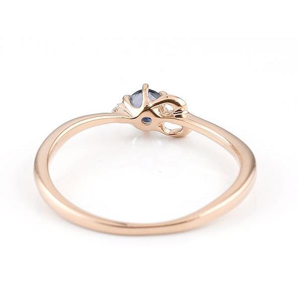 エンゲージリング イニシャル ネーム E 婚約指輪 アイオライト ダイヤモンド ピンクゴールドk18 指輪 アルファベット 18金 レディース 人気 クリスマス 女性