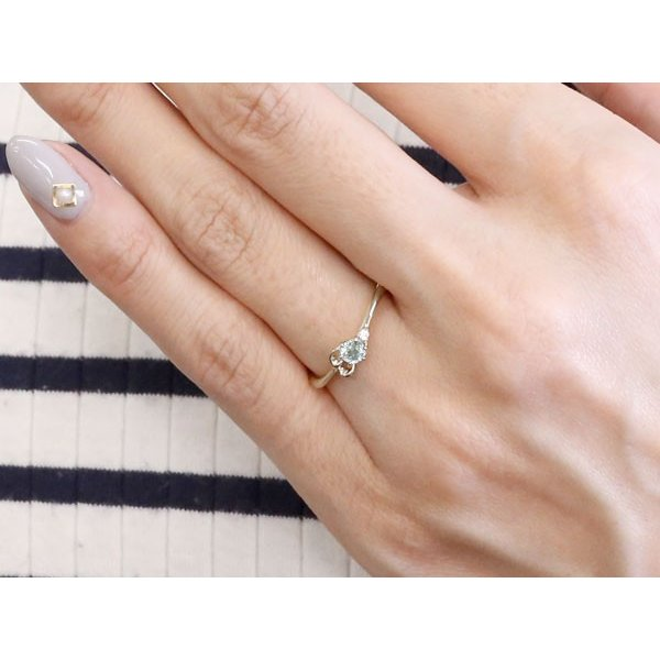 ピンキーリング イニシャル ネーム E アクアマリン ダイヤモンド 華奢リング シルバー 指輪 アルファベット レディース 3月誕生石 人気 クリスマス 女性