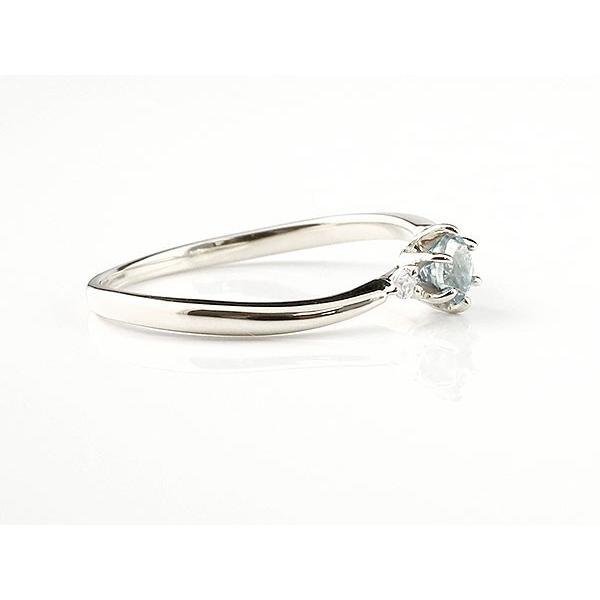 エンゲージリング イニシャル ネーム M 婚約指輪 アクアマリン ダイヤモンド シルバー 指輪 アルファベット レディース 3月誕生石 人気 クリスマス 女性