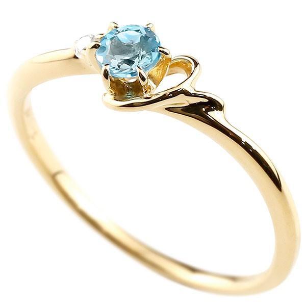 エンゲージリング イニシャル ネーム Y 婚約指輪 ブルートパーズ ダイヤモンド イエローゴールドk10 指輪 アルファベット 10金 レディース 11月誕生石