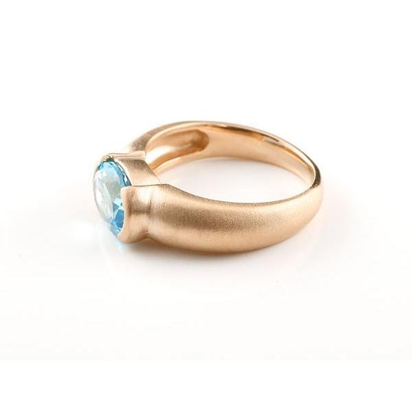 ピンキーリング エンゲージリング ピンクゴールドk18 大粒 一粒 ブルートパーズ リング 18金 指輪 婚約指輪 クリスマス 女性