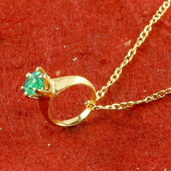 24金ネックレス メンズ 純金 ベビーリング エメラルド 一粒 ペンダント 誕生石 出産祝い 5月誕生石 ゴールド k24 立爪 人気 緑の宝石 送料無料