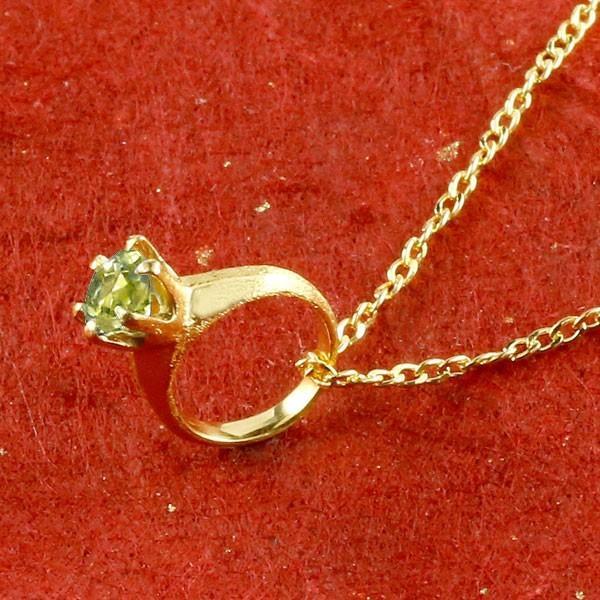 24金ネックレス メンズ 純金 ベビーリング ペリドット 一粒 ペンダント 誕生石 出産祝い トップ 8月誕生石 ゴールド k24 立爪 人気 緑の宝石 送料無料