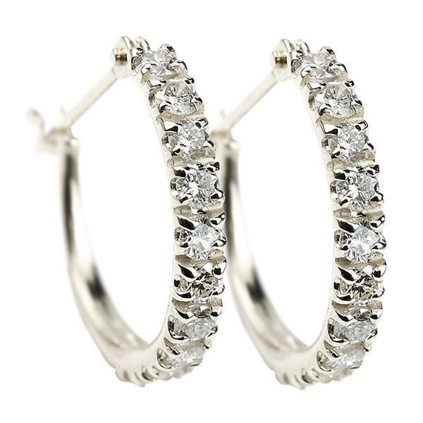 プラチナ フープピアス ダイヤモンド ダイヤ レディース シンプル 人気 リング 送料無料 ペア