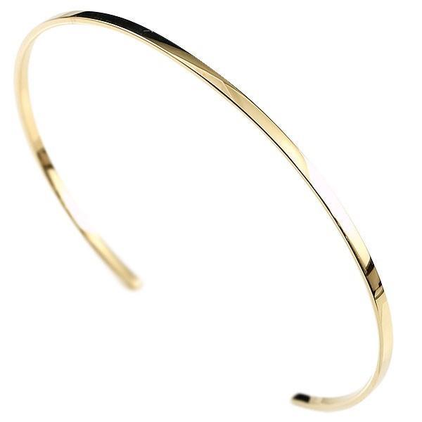 メンズ ブレスレット バングル シンプル ストレート 細い イエローゴールドk18 18金 華奢 細身 地金 送料無料