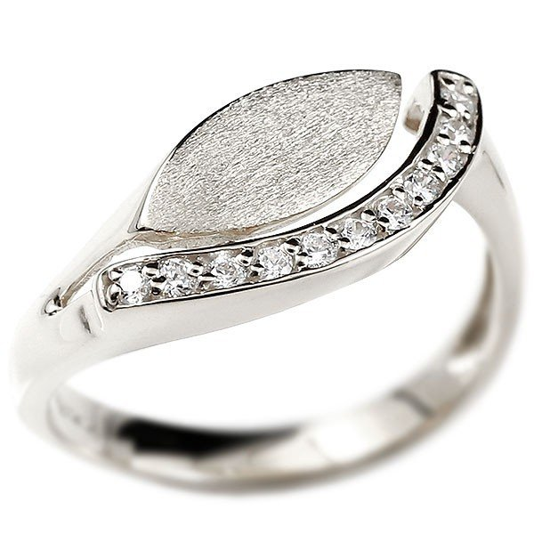 婚約指輪 ホワイトゴールドk10 エンゲージリング ピンキーリング キュービックジルコニア 指輪 ウェーブリング 10金 10k レディース 緩やかなV字 つや消し