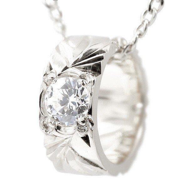 ハワイアンジュエリー ネックレス ダイヤモンド ベビーリング ホワイトゴールドk10 チェーン ネックレス レディース シンプル 10金 人気 プレゼント 女性