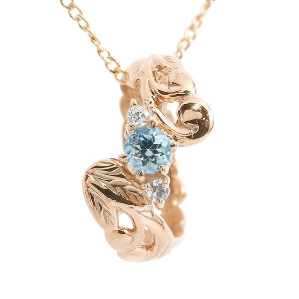 ハワイアンジュエリー ネックレス ブルートパーズ ダイヤモンド ベビーリング ピンクゴールドk18 チェーン ネックレス レディース 18金 プレゼント 女性