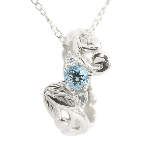 ハワイアンジュエリー ネックレス ペンダントトップ メンズ ブルートパーズ ダイヤモンド ベビーリング ホワイトゴールドk10 男性用 10金 青い宝石 送料無料
