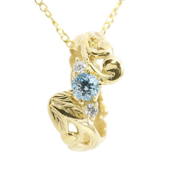 ハワイアンジュエリー ネックレス ペンダントトップ ブルートパーズ ダイヤモンド ベビーリング イエローゴールドk18 チェーン 18金 女性