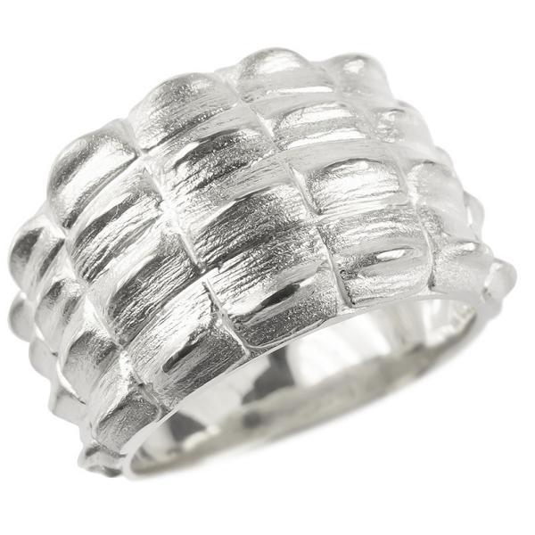 18金 リング メンズ ゴールド 指輪 18k ホワイトゴールドk18 太め クロコダイル シンプル ピンキーリング ワニ 男性 つや消し 幅広 地金 送料無料