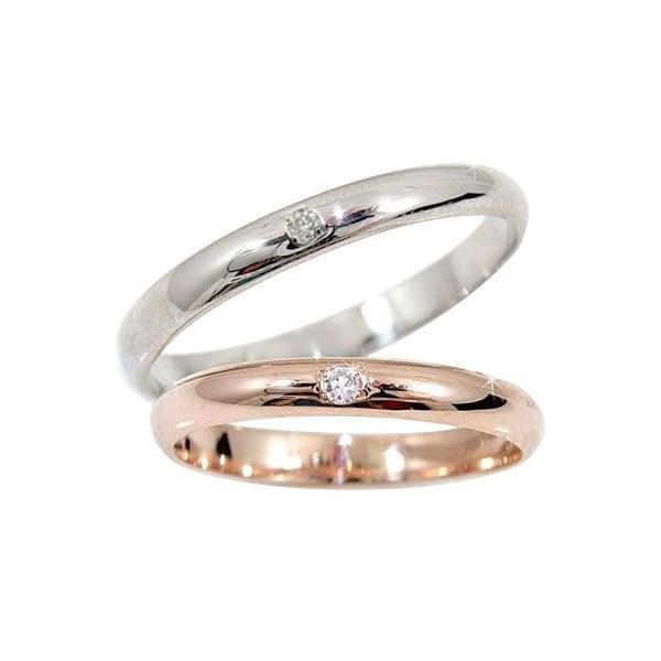 甲丸 最短納期ペアリング 結婚指輪 マリッジリング ホワイトゴールドk10 ピンクゴールドk10 ソリティア 10金 ストレート カップル 2.3 クリスマス 女性