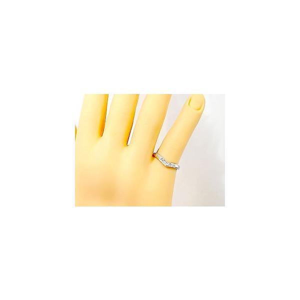 ストレート マリッジリング 甲丸 結婚指輪 ペアリング プラチナ ダイヤ ダイヤモンドS字 V字 リング 2本セット ウェーブリング 2.3 メンズ レディース