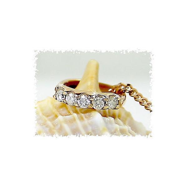 ベビーリン グダイヤモンド ペンダントネックレス ピンクゴールドk18 18金 4月誕生石 ダイヤ 送料無料