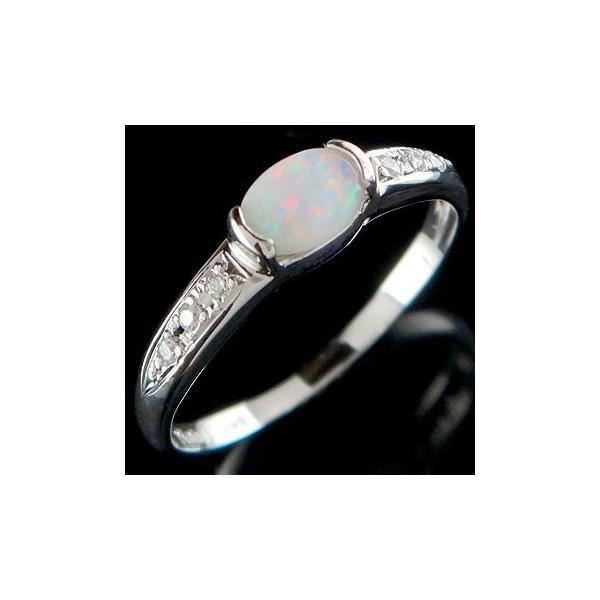 ピンキーリング オパール ダイヤモンド プラチナ リング 指輪 10月誕生石 ダイヤ ストレート 宝石 クリスマス 女性