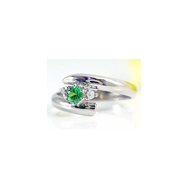 ピンキーリング グリーンガーネットリング ダイヤモンド プラチナリング 指輪 1月の誕生石 ダイヤ ストレート 宝石