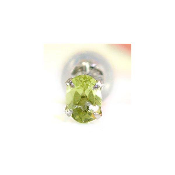 プラチナピアス メンズ ペリドットプラチナ 片耳ピアス 8月誕生石 男性用 宝石 ファーストピアス 緑の宝石 送料無料